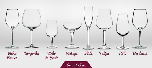 Os diferentes tipos de taças de vinho.