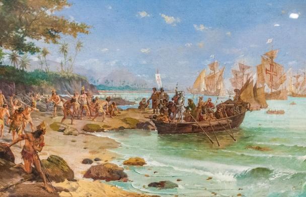 Desembarque de Cabral em Porto Seguro. Obra de Oscar Pereira da Silva, 1904. Acervo do Museu Histórico Nacional, Rio de Janeiro.